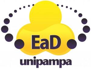 Logo EaD - Trevo amarelo de 3 folhas rodeado círculos com as seguintes palavras escritas em azul: EaD UNIPAMPA.