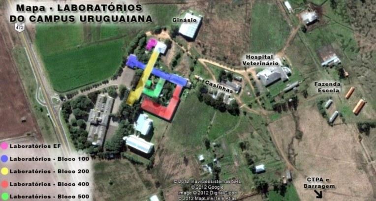 Mapa dos laboratórios do Campus Uruguaiana