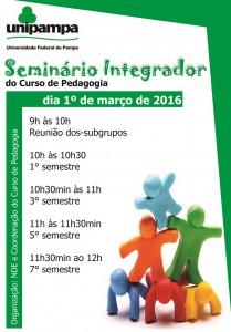 Amanhã, dia 01° de março de 2016 ocorrerá o Seminário Integrador do Curso de Pedagogia
