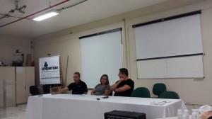 Luiz, Francelina e Moacir durante Mesa Redonda: COMO O MESTRADO CONTRIBUIU NA REFLEXÃO DA PRÁTICA DOCENTE.
