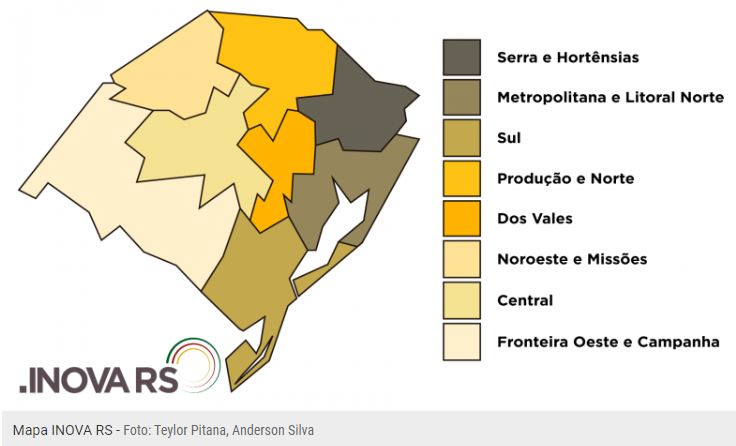 mapa das regiões do INOVA RS