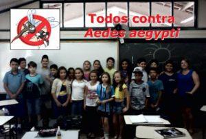 Alunos da turma 5°C, do quinto ano do ensino fundamental da E.E.E.M João Pedro Nunes, juntamente com a professora Andrea, após a palestra.